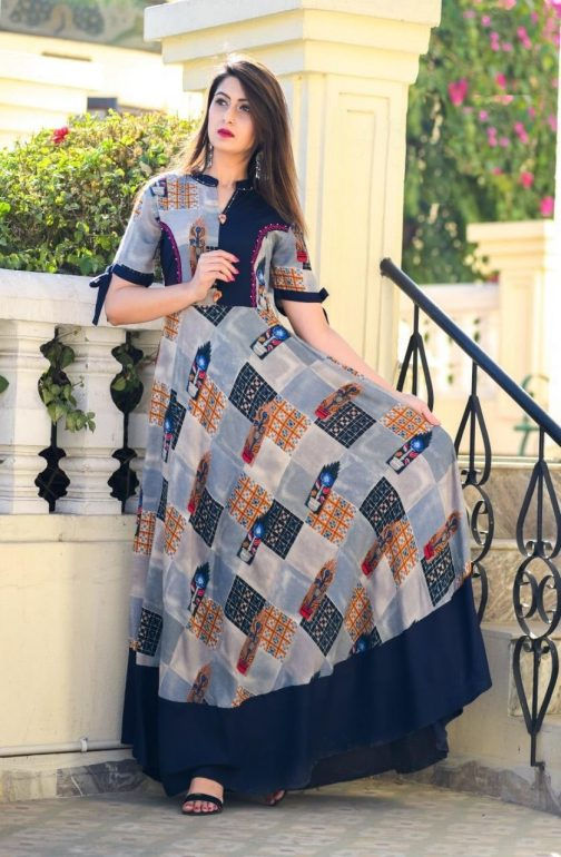 Blue Printed Long Gown