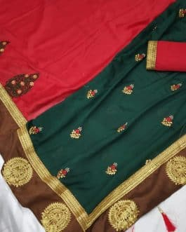 Adorable Green Red Dual Colored Silk Saree