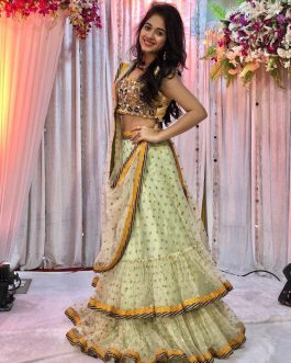 Beautiful Satin Silk Lehenga With Embroidered Sequence Work