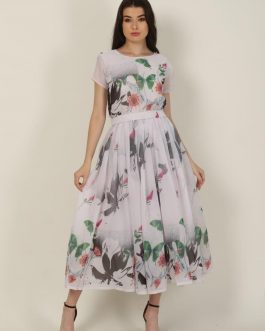 Beautiful White Floral Printed Georgette Gown