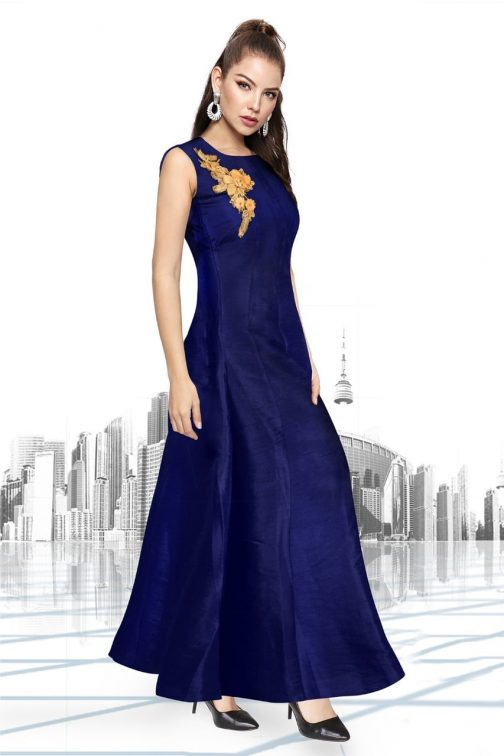 Delightful Blue Embroidered Party Wear Gown