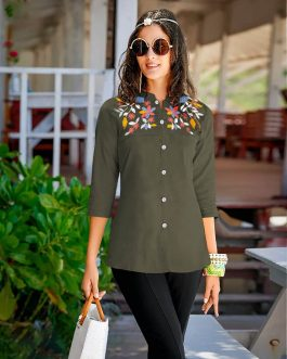Delightful Olive Rayon Tops