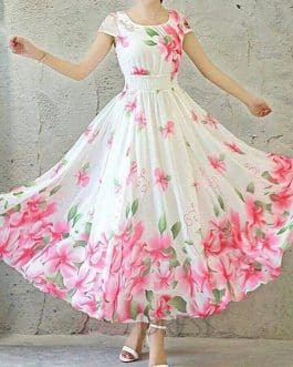 Floral Border White Colored Georgette Gown