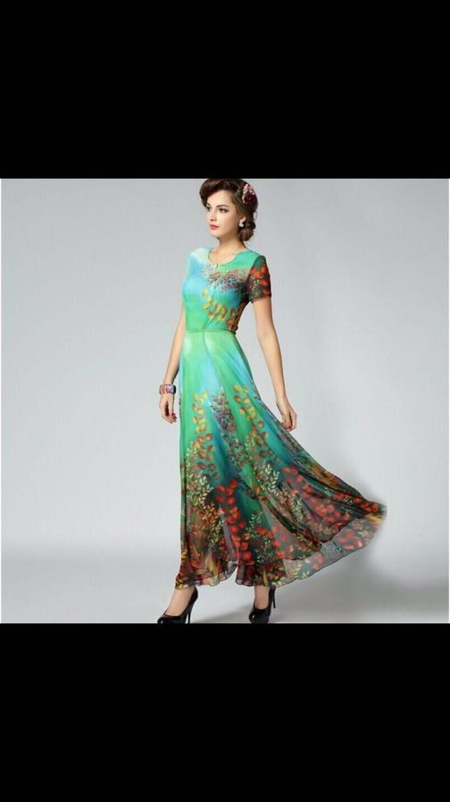 Floral Print Border Green Georgette Gown