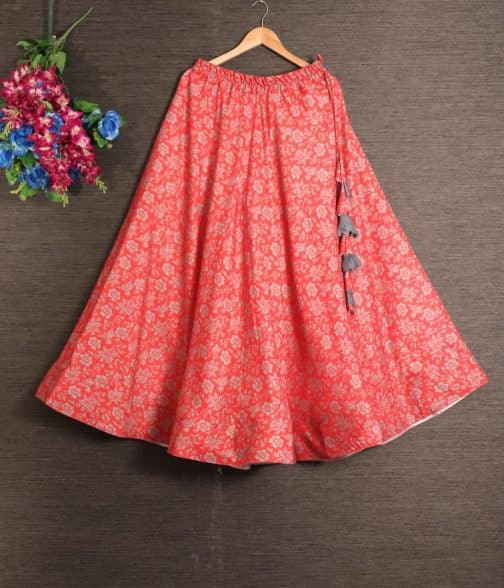 Printed Red Cotton Rayonmix Skirt