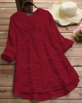 Maroon Embroidered Cotton Top