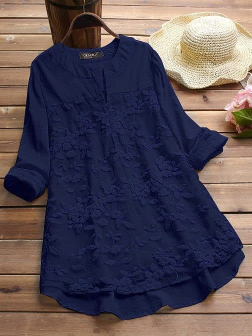 Navy Blue Embroidered Cotton Top