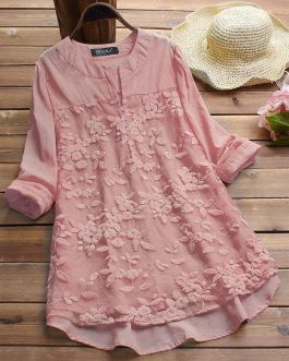 Peach Embroidered Cotton Top