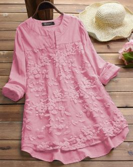 Pink Embroidered Cotton Top