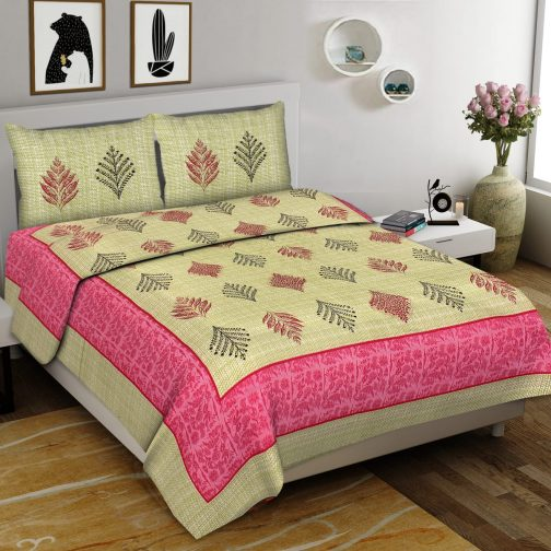 Creamy Colored Queen Size Cotton Bedsheet