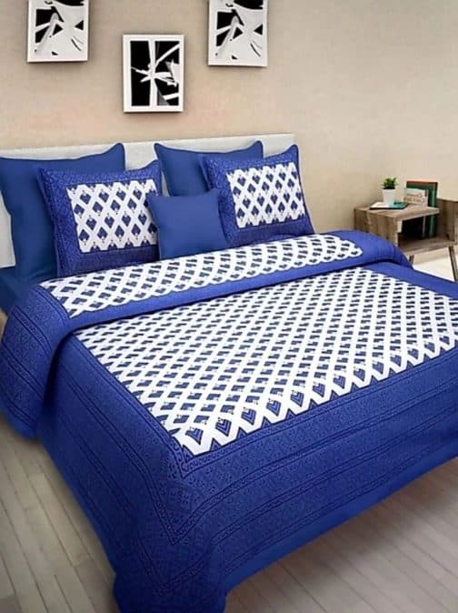 Navy Blue Attractive Printed Cotton Bedsheet