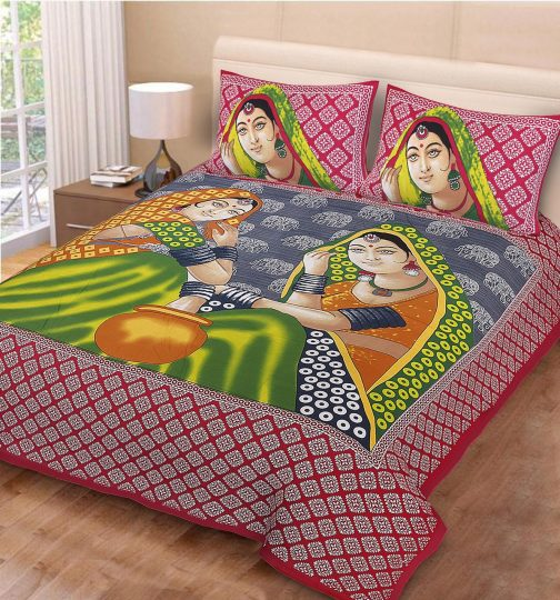 Queen Size Cotton Red Printed Bedsheet