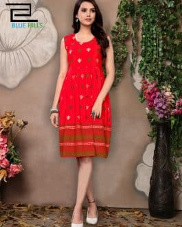 Blue Hills Rayon Printed Red Dress Material