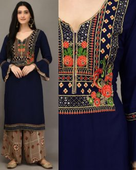 Blue Rayon Embroider...