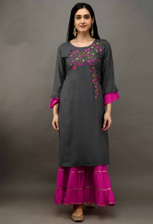 Velly Embroidered Charcoal Rayon Kurti