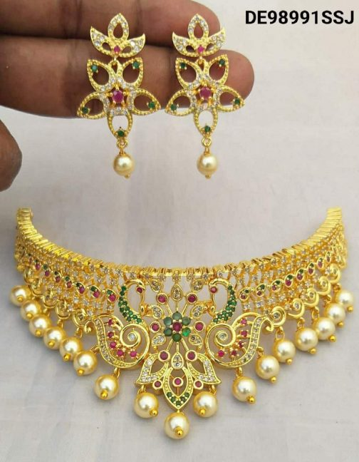 137-1Attractive Gold Plated Choker Necklace