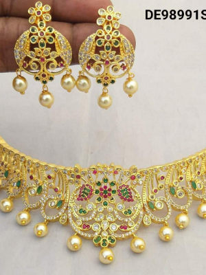 Gold Plated With American Diamond Necklace