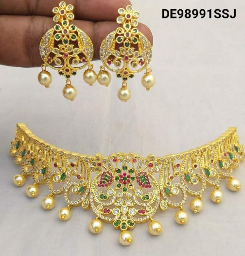 137-1Gold Plated With American Diamond Necklace