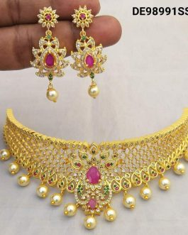 Gold Plated With American Diamond Work Choker Necklace