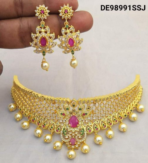 137-1Gold Plated With American Diamond Work Choker Necklace
