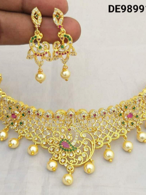 MF Gold Plated with American Diamond Chokher Necklace