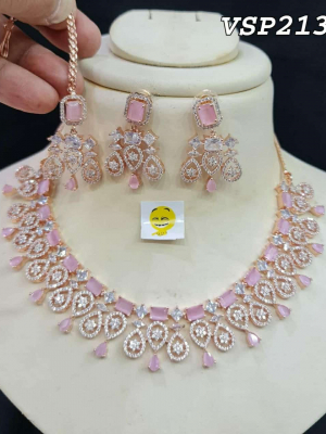 Maysa AD Rose Gold Plated Stone Necklace