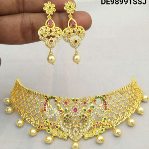 Maysa Traditional Trendy Gold Plated Choker Necklace
