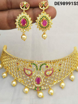 Gold Plated with AD Choker Peackock Necklace