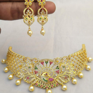 Peacock Design Gold Plated AD Necklace