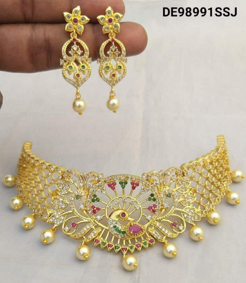 137-1Peacock Design Gold Plated AD Necklace