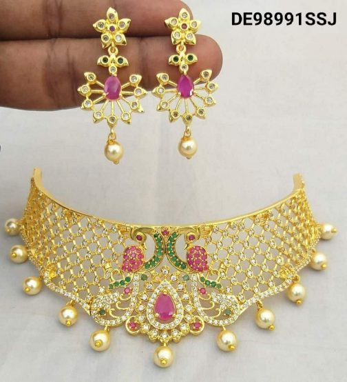 137-1Traditional Gold Plated Choker Necklace