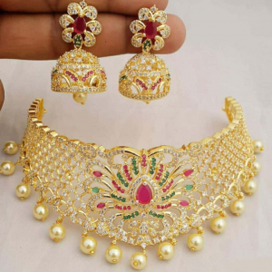 Traditional Gold Plated Pearl Drop and American Diamond Necklace Set