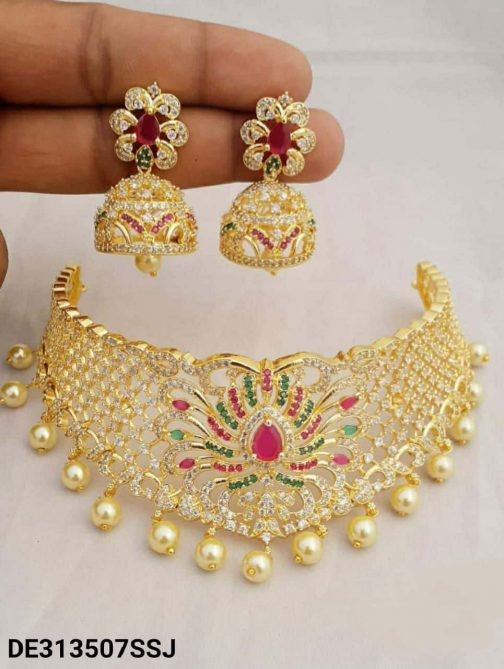 137-2Traditional Gold Plated Pearl Drop and American Diamond Necklace Set