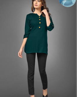 Solid Green Rayon Top